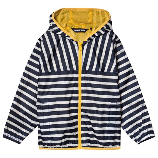 Lands' End Navy Stripe Waterproof Hooded Rain Jacket HFX