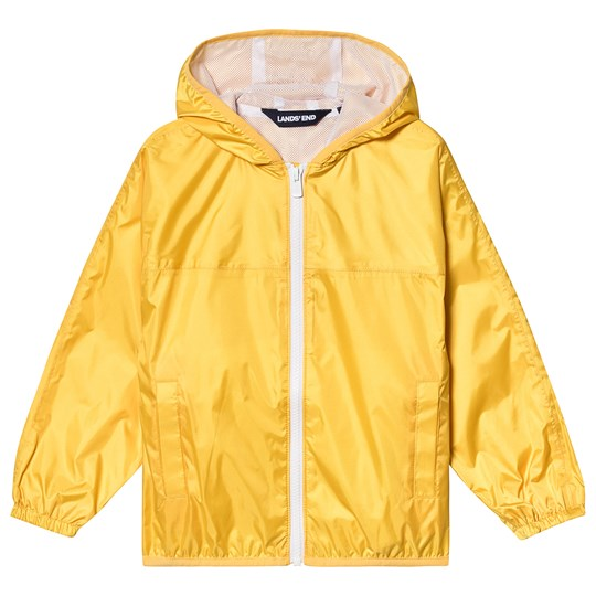 Lands' End Yellow Waterproof Hooded Rain Jacket O57