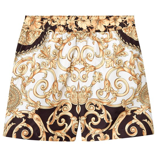 Versace Baroque Swim Trunks Black and Gold Y4695