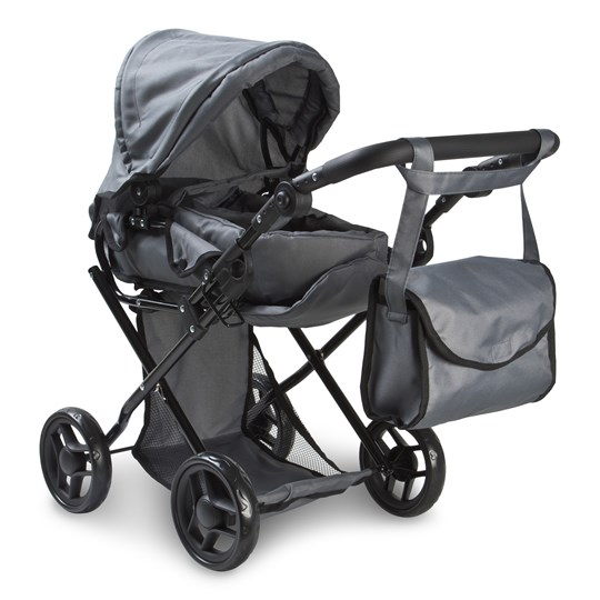 STOY Dolls Pram Combi w. bag Grey