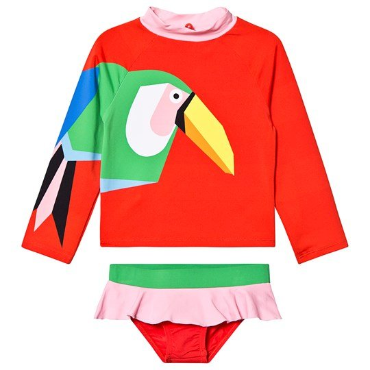 Stella McCartney Kids Red Tucan Print Rashvest and Brief Set 6564 - Parrot Red