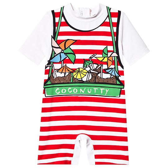 Stella McCartney Kids White and Red Coconutty Print Stripe Swimming Suit 9082 - White