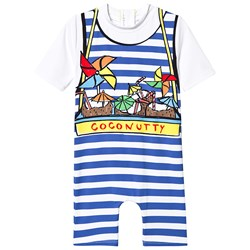 Stella McCartney Kids White and Blue Coconutty Print Stripe Swimming Suit
