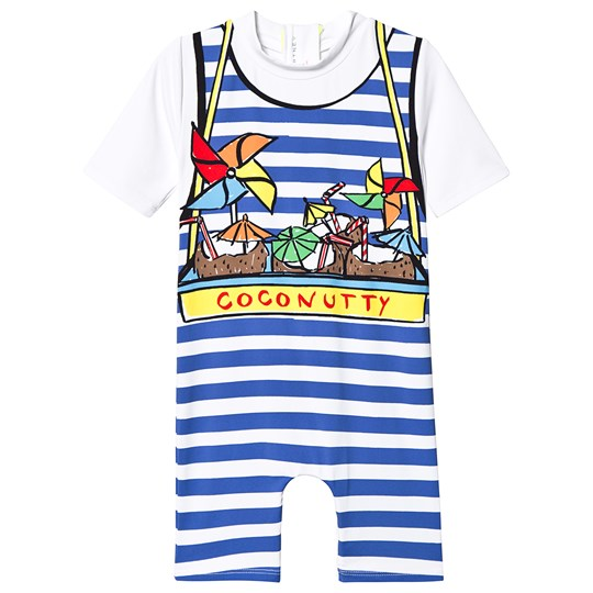 Stella McCartney Kids White and Blue Coconutty Print Stripe Swimming Suit 9082 - White