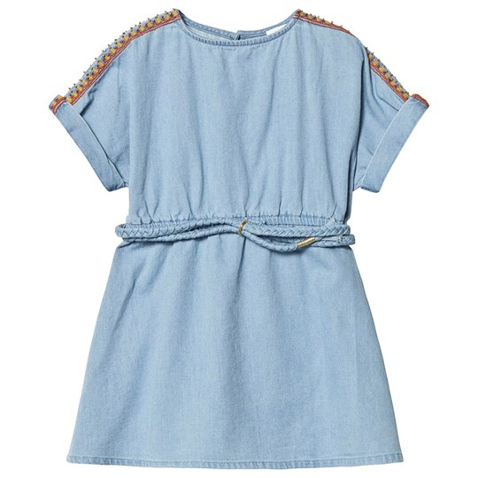 Carrément Beau Blue Light Denim Dress with Embroidered Shoulders and Belt Z04