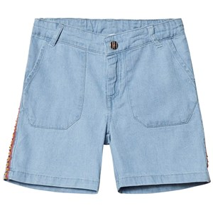 Image of Carrément Beau Blue Light Denim Shorts with Embroidery Detail 2 years (1232138)