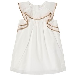 Chloé White Gold Braid Ruffle Detail Dress