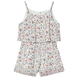 Chloé Ditsy Floral Print Jumpsuit with Ruched Hems Blue