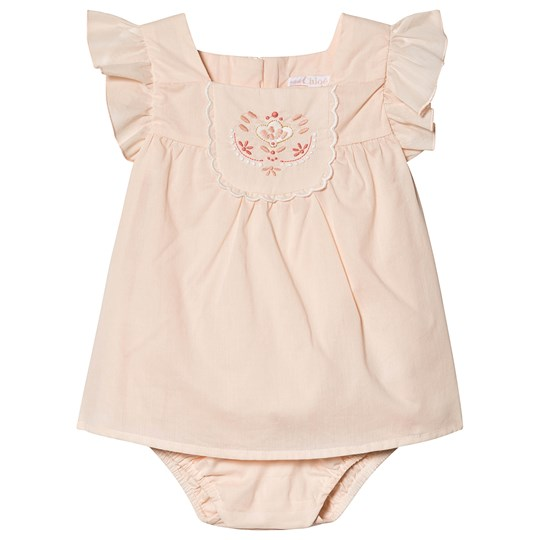 Chloé Pale Pink Embroidered Floral Frill Dress Body with Pearl Buttons and Sun Hat 471