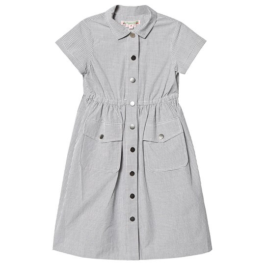 Bonpoint Grey Grid Cotton Button Front Shirt Dress 303