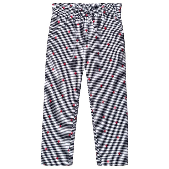 Bonpoint Black and White Woven Trousers with Heart Embroidery 970