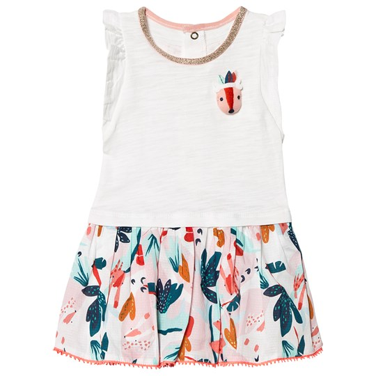 Catimini White Dress with 3D Fox and Floral Print Skirt 13
