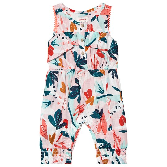 Catimini Pink Floral Print Button Front Fill Jumpsuit 13