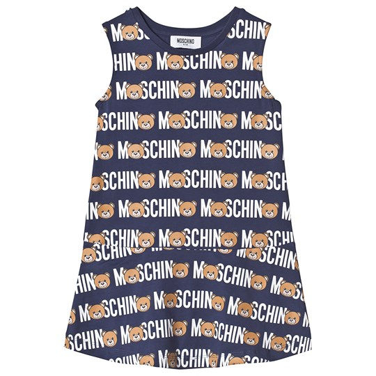 Moschino Kid-Teen Navy All Over Bear and Branded Dress 84006