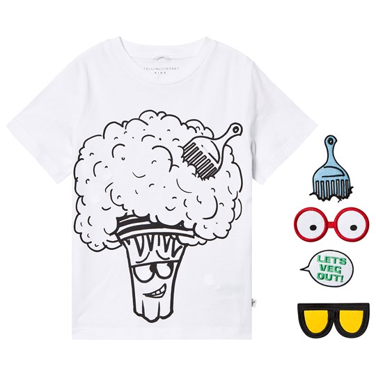 Stella McCartney Kids Hvide Sjove Broccoli Ansigt Tee 9082 - White