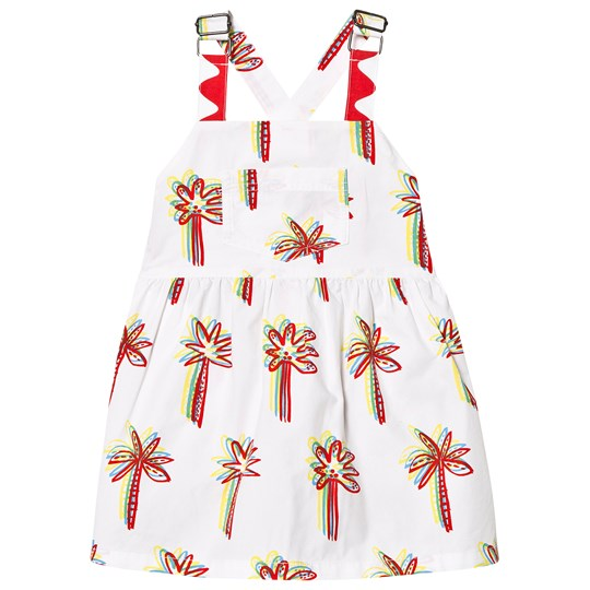 Stella McCartney Kids White Palm Tree All Over Print Dress 9086 - Graphic Palms On Whi