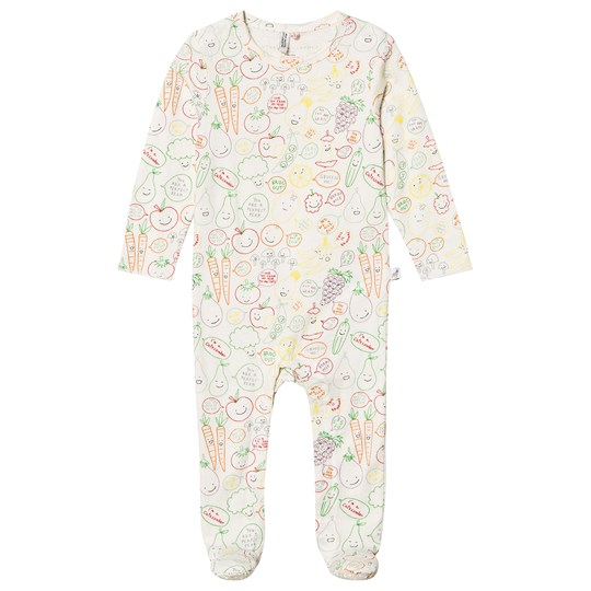 Stella McCartney Kids White Fruit All Over Print Babygrow 9092 - Baby Veg&Fruit Aop W