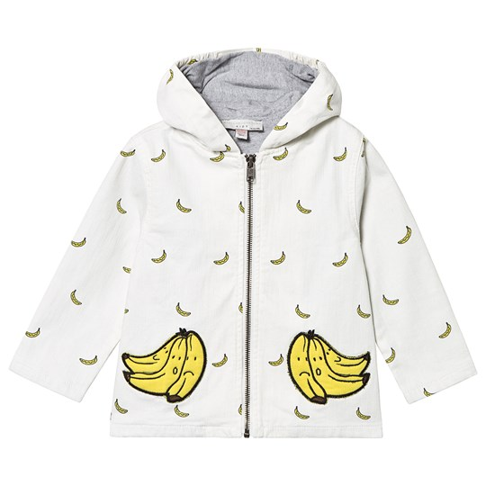 Stella McCartney Kids White Banana Print Denim Jacket 9084 - Small Banana Aop Den