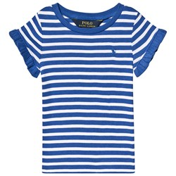 Ralph Lauren Blue and White Stripe Tee with Small PP
