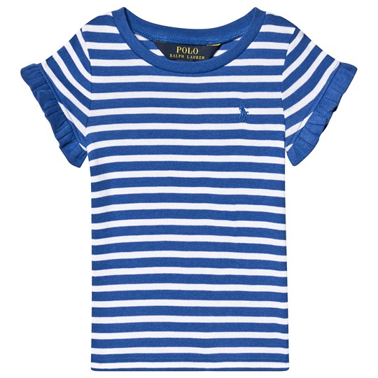 Ralph Lauren Blue and White Stripe Tee with Small PP 002