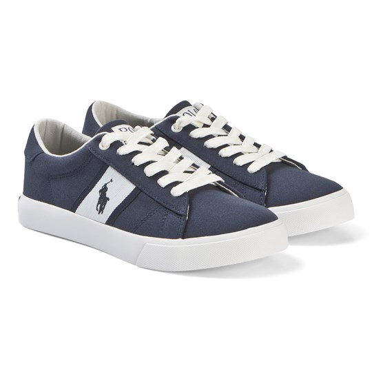 Ralph Lauren Navy Canvas and White Geoff Trainers NAVY CANVAS