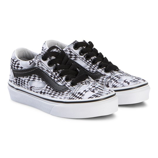 Molo Black Kids Skate Check Old Skool Trainers VIR1
