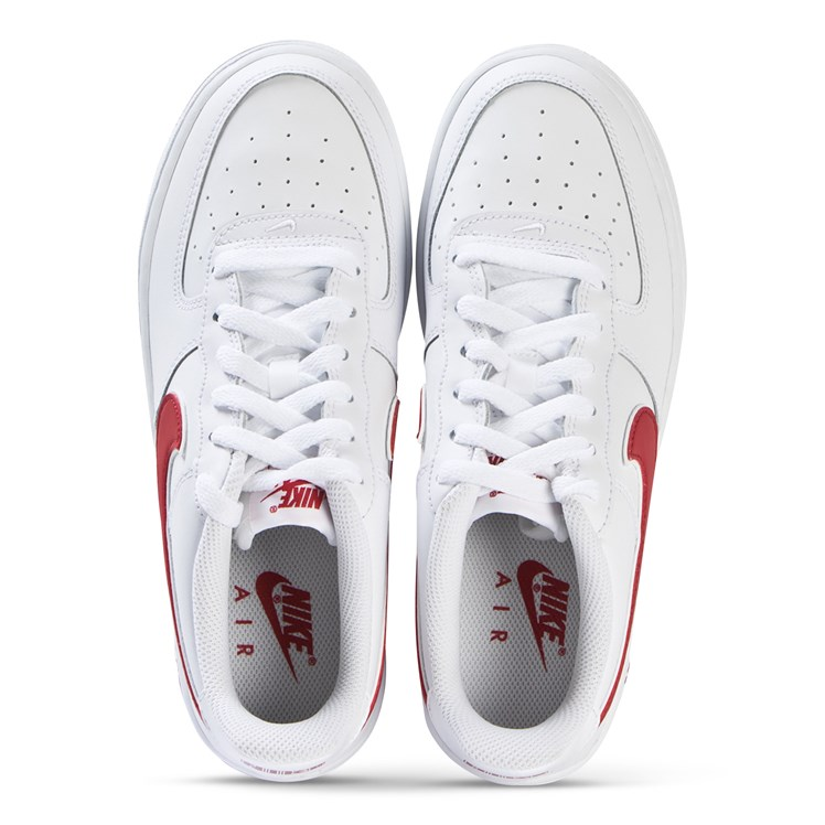 NIKE White and Red Nike Air Force 1 3 Trainers Babyshop.no