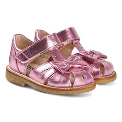 Angulus Metallic Pink Leather Bow Close Toe Sandals