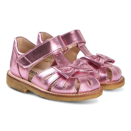 Angulus Metallic Pink Leather Bow Close Toe Sandals 1327
