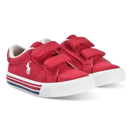 Ralph Lauren Red Canvas and White Edgewood EZ Strap Trainers RED CANVAS