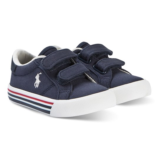 Ralph Lauren Navy Canvas and White Edgewood EZ Strap Trainers NAVY CANVAS