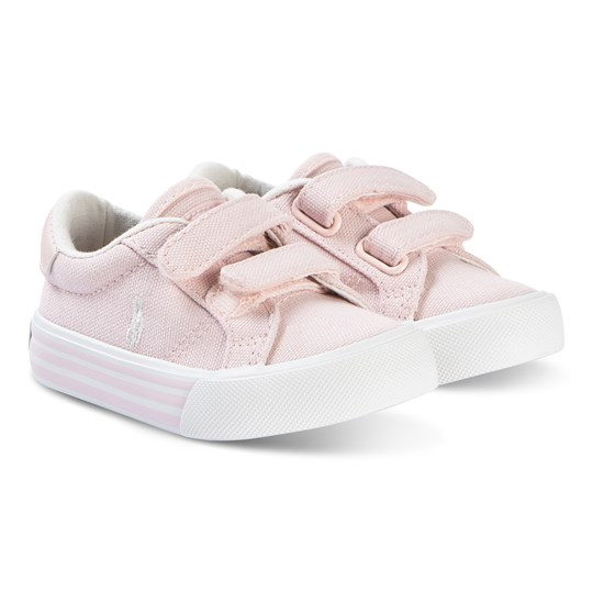 Ralph Lauren Light Pink Canvas and White Edgewood EZ Strap Trainers Light Pink Canvas
