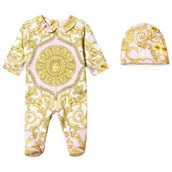 Versace Footed Baby Body and Hat Gift Set White and Pink