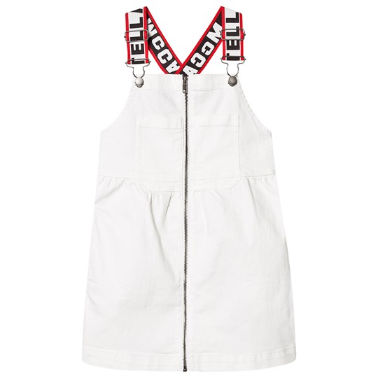 Stella McCartney Kids White Denim Dress with Taped Straps 9082 - White