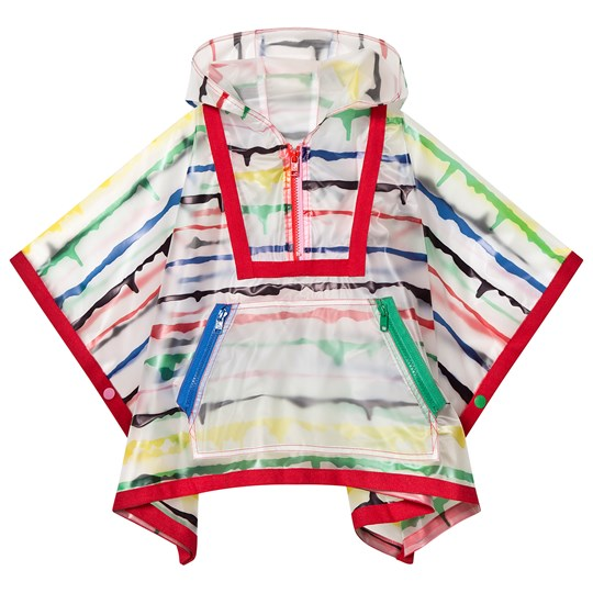 Stella McCartney Kids White Painted Stripe Hooded Cape 9087 - Painted Stripes