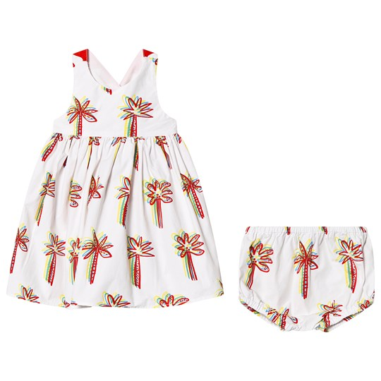 c9c243a1d102d Stella McCartney Kids White Palm Tree Embroidered Dress 9086 - Graphic  Palms On Whi