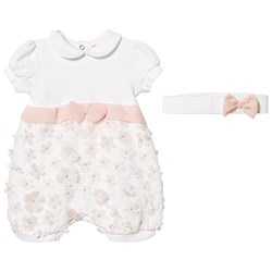 Mintini Baby White Floral Applique Bow Detail Romper