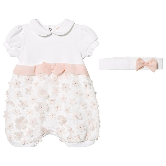 Mintini Baby White Floral Applique Bow Detail Romper White