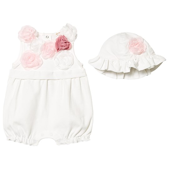 Mintini Baby White Flower Applique Romper with Hat White