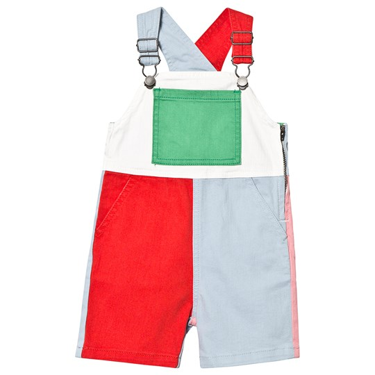 Stella McCartney Kids Multicolour Colour Block Denim Dungarees 6564 - Parrot Red