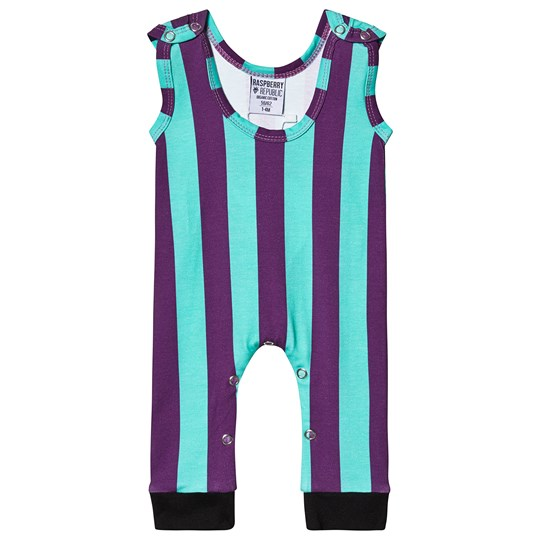 Raspberry Republic Stripetastic Jumpsuit Green and Purple Blue