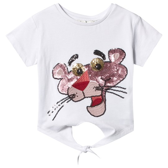 Eleven Paris White Pink Panther Sequin Tie Cropped Tee White