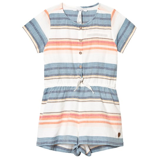 Pepe Jeans Blue and Pink Stripe Tie Front Playsuit 0AA