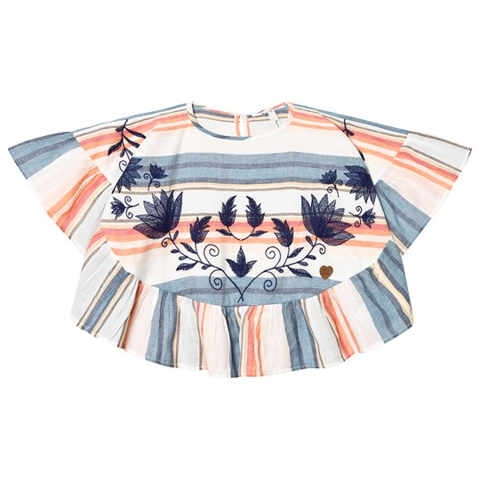 Pepe Jeans Pink and Blue Embroidred Candice Top 0AA