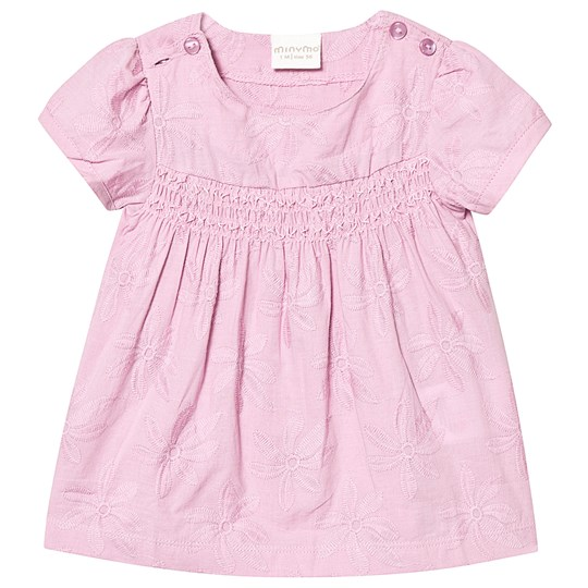 Minymo Dress Ss Embroidery Mauve Mist Mauve Mist