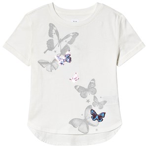Image of GAP Flippy Sequin Butterfly T-Shirt New Off White XXL (14 år) (3137428321)