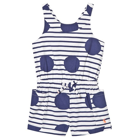 Tom Joule Blue Large Spot and Stripe Playsuit Blue Large Spot and Stripe