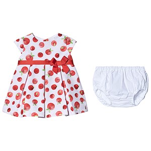 Image of Dr Kid Apple Print Dress White/Red 12 months (3138206585)