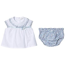 Dr Kid White Frill Emboiderd Blouse with Floral Print Bloomers