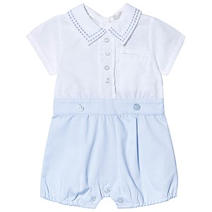 Image of Dr Kid Shirt Romper White/Blue 1 month (3138206521)